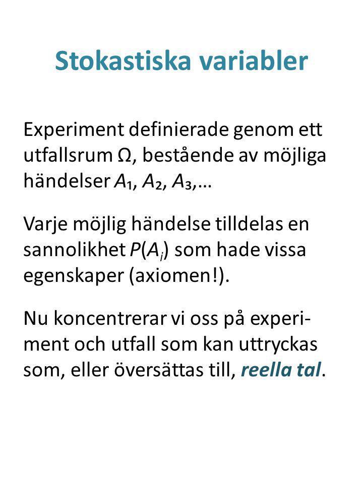 Stokastiska variabler Experiment definierade genom ett utfallsrum Ω, bestående av möjliga händelser A₁, A₂, A₃,… Varje möjlig händelse tilldelas en sannolikhet P(A i ) som hade vissa egenskaper (axiomen!).