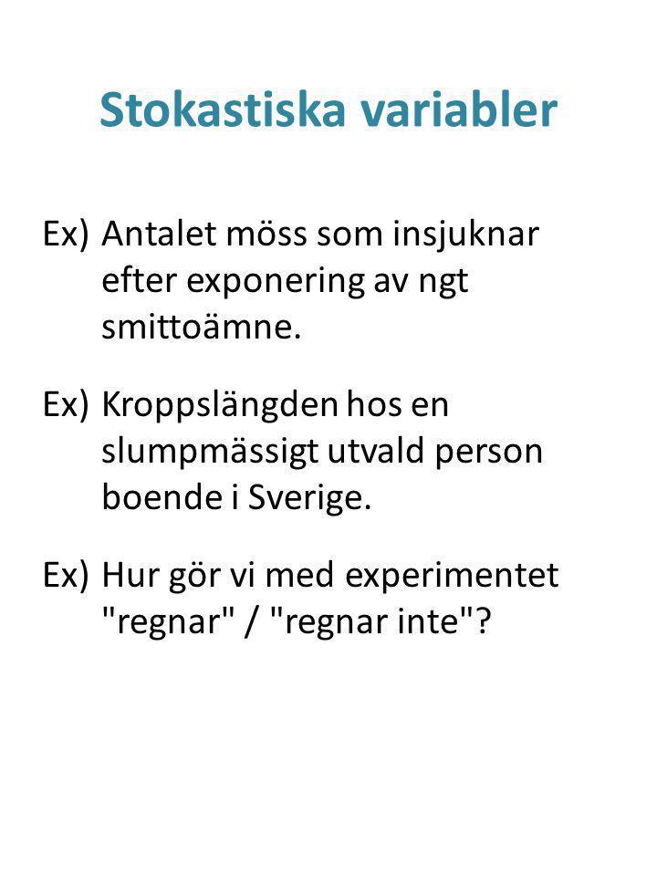Stokastiska variabler En stokastisk variabel X antar ett siffervärde slumpmässigt (X = x).