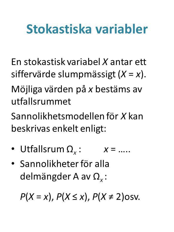 Binomialfördelningen 4 Istället för att beräkna sannolik- heterna används ofta en färdig tabell, typiskt med P(X ≤ x).
