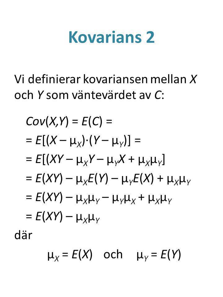 Kovarians 2 Vi definierar kovariansen mellan X och Y som väntevärdet av C: Cov(X,Y) = E(C) = = E[(X – μ X )·(Y – μ Y )] = = E[(XY – μ X Y – μ Y X + μ X μ Y ] = E(XY) – μ X E(Y) – μ Y E(X) + μ X μ Y = E(XY) – μ X μ Y – μ Y μ X + μ X μ Y = E(XY) – μ X μ Y där μ X = E(X)och μ Y = E(Y)