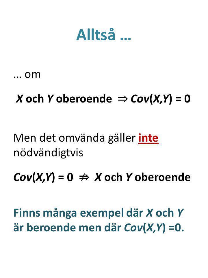 Alltså … … om X och Y oberoende ⇒ Cov(X,Y) = 0 Men det omvända gäller inte nödvändigtvis Cov(X,Y) = 0 ⇏ X och Y oberoende Finns många exempel där X och Y är beroende men där Cov(X,Y) =0.