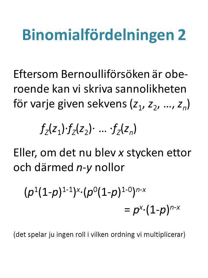 Binomialfördelningen 2 Eftersom Bernoulliförsöken är obe- roende kan vi skriva sannolikheten för varje given sekvens (z 1, z 2, …, z n ) f Z (z 1 )·f Z (z 2 )· … ·f Z (z n ) Eller, om det nu blev x stycken ettor och därmed n-y nollor (p 1 (1-p) 1-1 ) x ·(p 0 (1-p) 1-0 ) n-x = p x ·(1-p) n-x (det spelar ju ingen roll i vilken ordning vi multiplicerar)