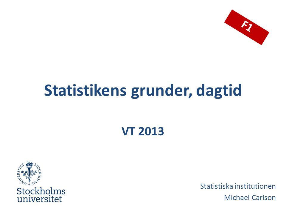 Webbsajt och kursinfo http://www.statistics.su.se  Student  Kurshemsidor  Statistikens grunder, dagtid Läs kursbeskrivningen.