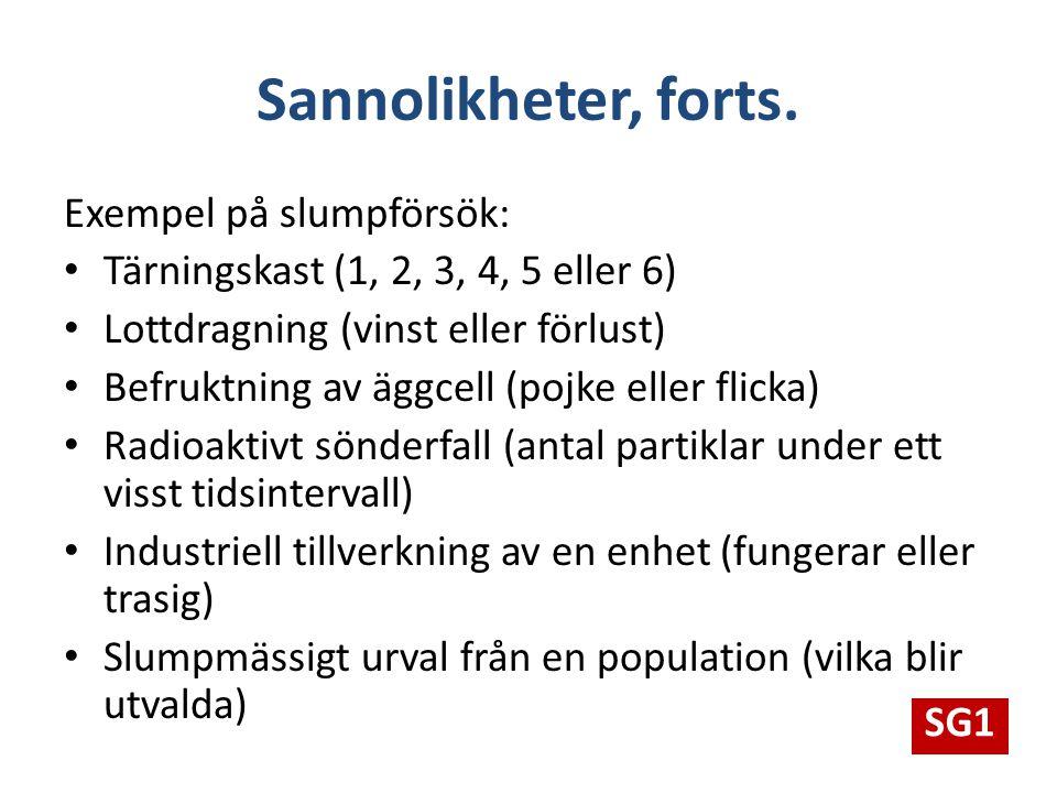 Sannolikheter, forts. Exempel på slumpförsök: Tärningskast (1, 2, 3, 4, 5 eller 6) Lottdragning (vinst eller förlust) Befruktning av äggcell (pojke el