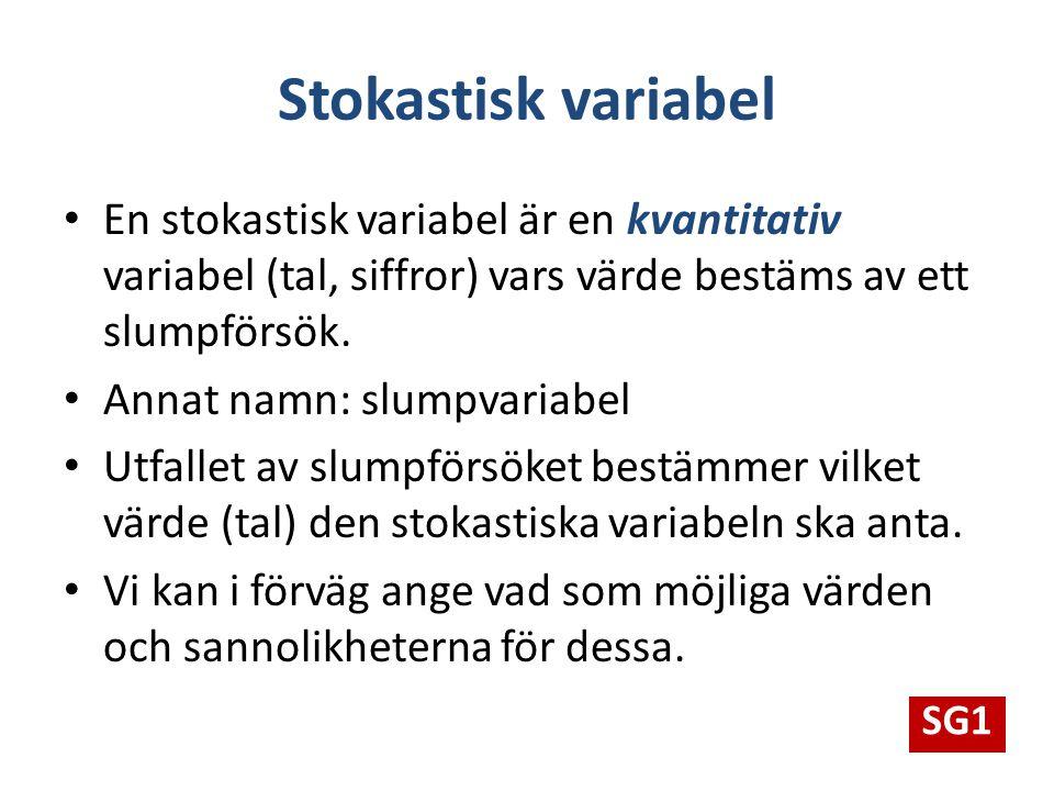 Stokastisk variabel En stokastisk variabel är en kvantitativ variabel (tal, siffror) vars värde bestäms av ett slumpförsök. Annat namn: slumpvariabel