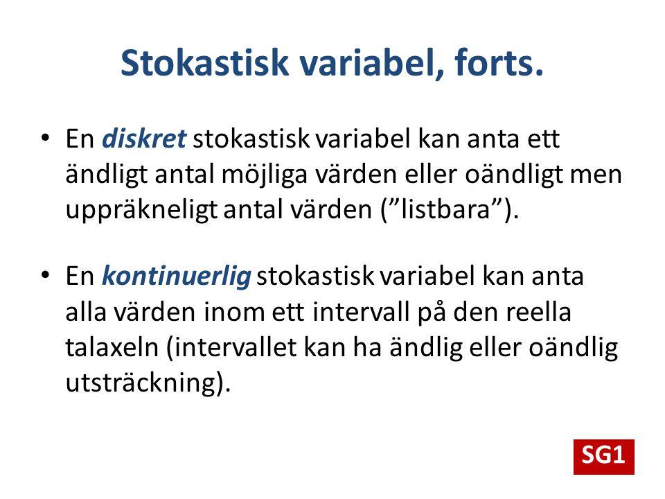 """Stokastisk variabel, forts. En diskret stokastisk variabel kan anta ett ändligt antal möjliga värden eller oändligt men uppräkneligt antal värden (""""li"""
