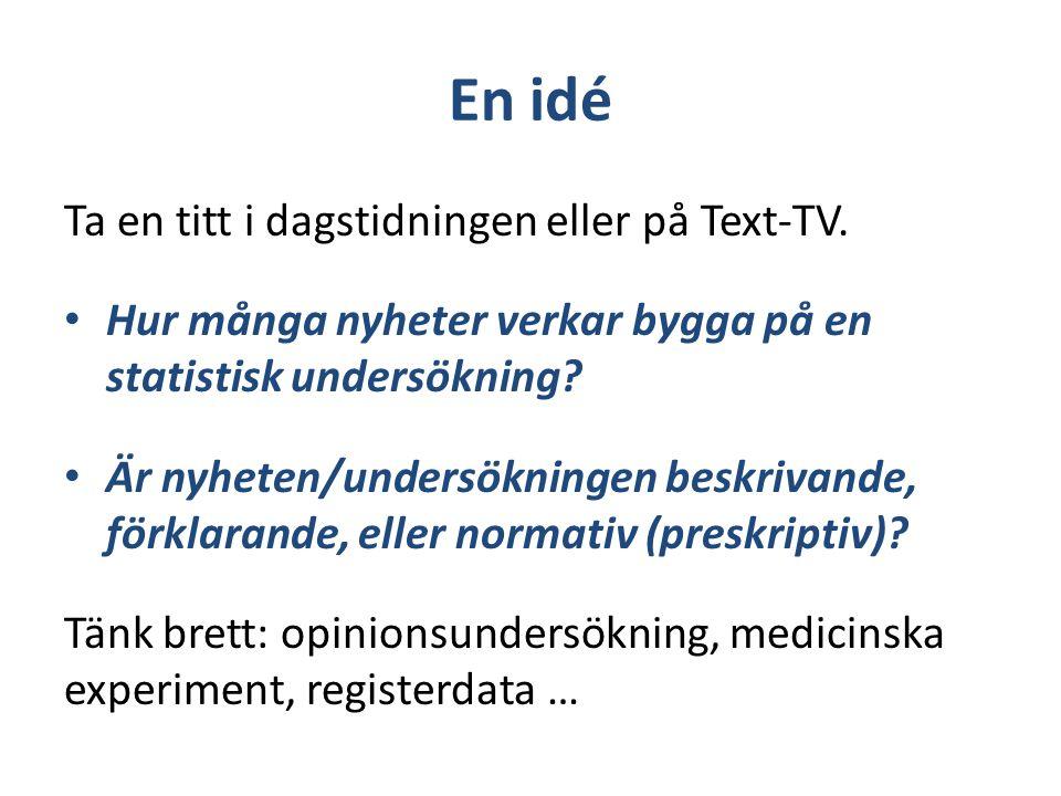 En idé Ta en titt i dagstidningen eller på Text-TV. Hur många nyheter verkar bygga på en statistisk undersökning? Är nyheten/undersökningen beskrivand