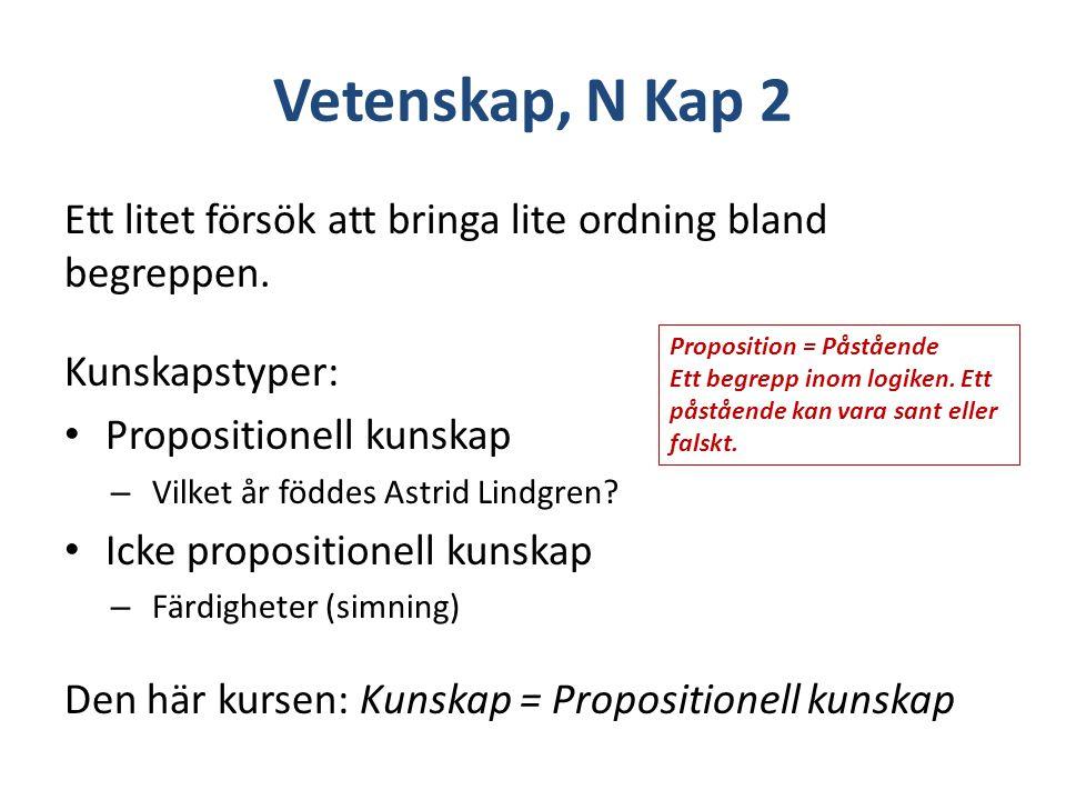 Vetenskap, N Kap 2 Ett litet försök att bringa lite ordning bland begreppen. Kunskapstyper: Propositionell kunskap – Vilket år föddes Astrid Lindgren?
