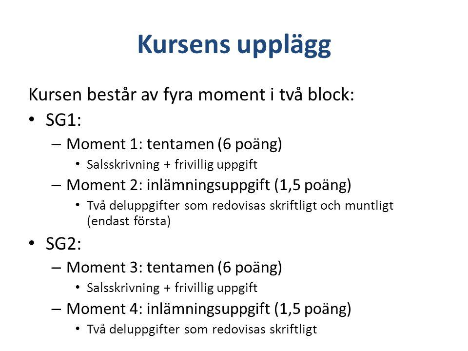 Kursens upplägg Kursen består av fyra moment i två block: SG1: – Moment 1: tentamen (6 poäng) Salsskrivning + frivillig uppgift – Moment 2: inlämnings