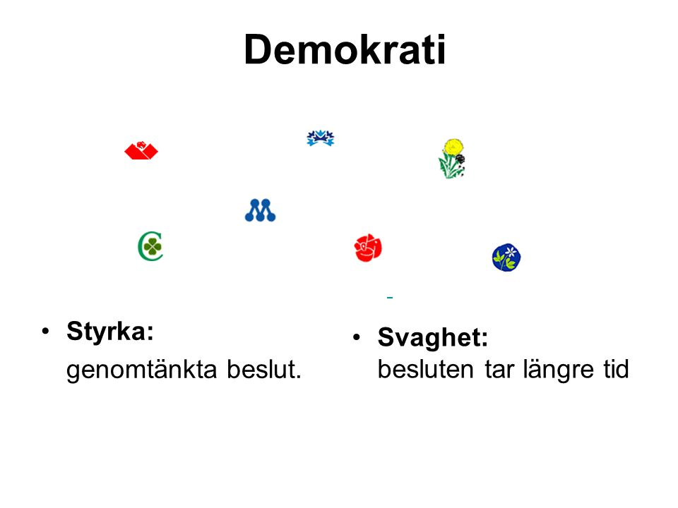 Demokrati Styrka: genomtänkta beslut. Svaghet: besluten tar längre tid
