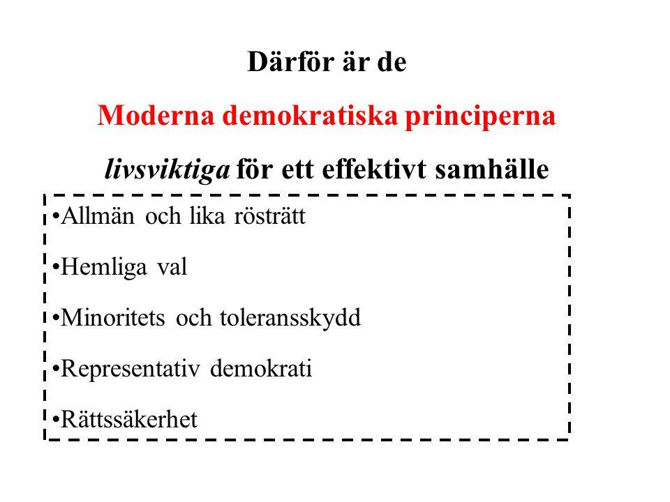 Allmän och lika rösträtt Hemliga val Minoritets och toleransskydd Representativ demokrati Rättssäkerhet Därför är de Moderna demokratiska principerna livsviktiga för ett effektivt samhälle