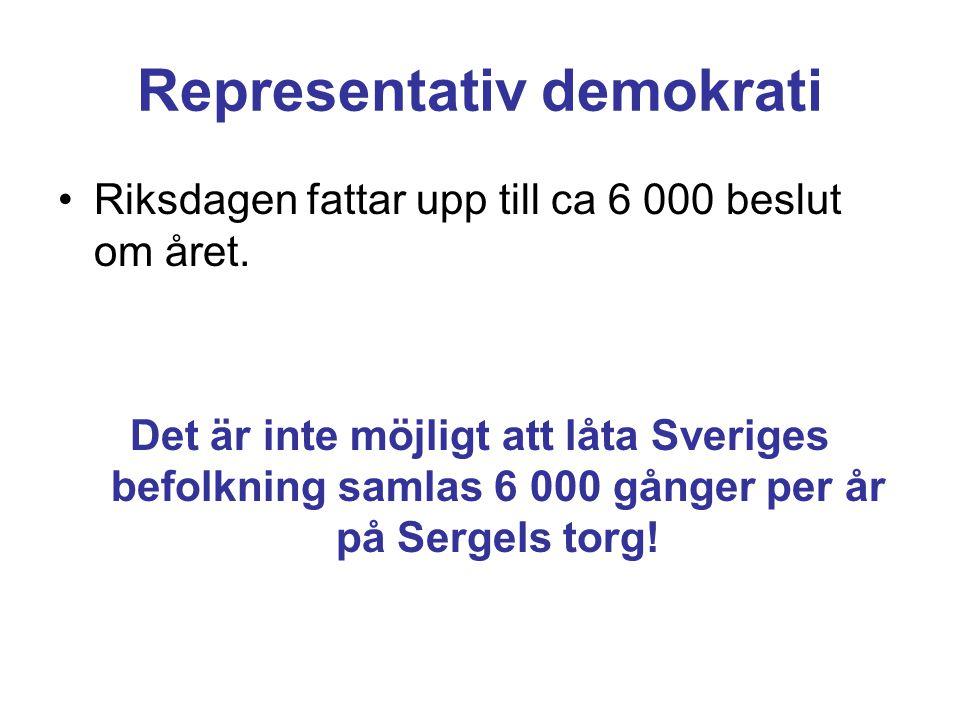 Representativ demokrati Riksdagen fattar upp till ca 6 000 beslut om året.