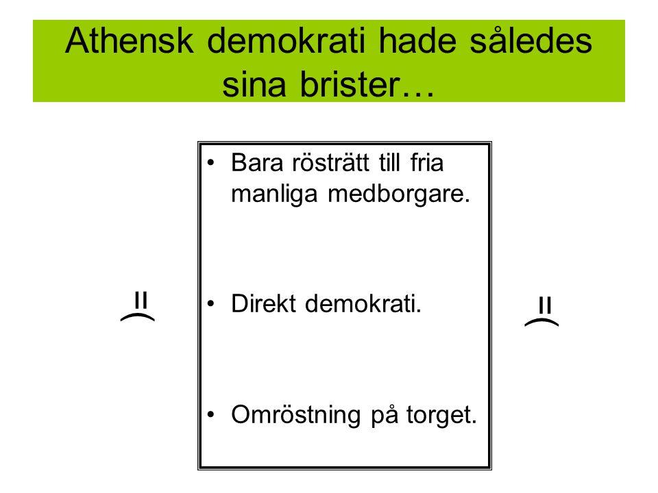 Athensk demokrati hade således sina brister… Bara rösträtt till fria manliga medborgare.