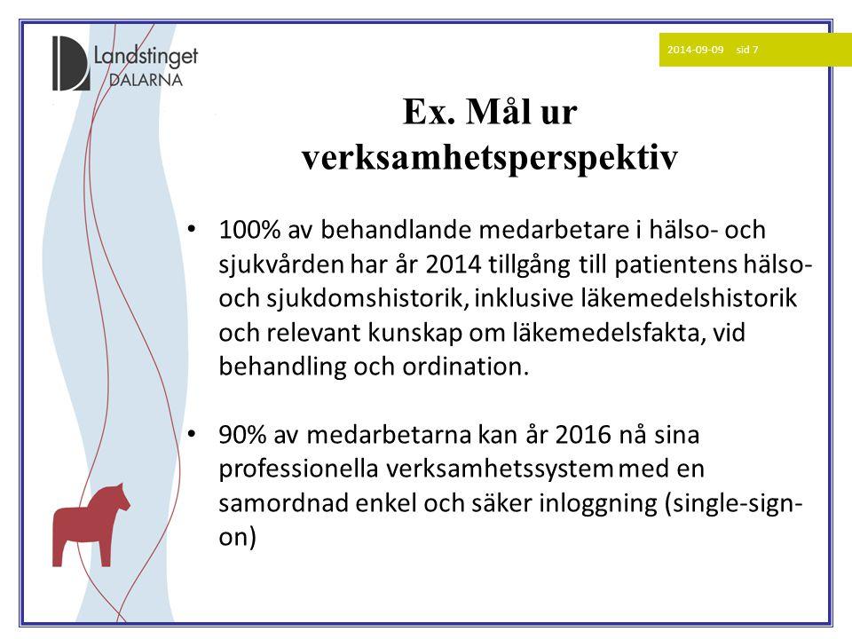 2014-09-09 sid 7 100% av behandlande medarbetare i hälso- och sjukvården har år 2014 tillgång till patientens hälso- och sjukdomshistorik, inklus