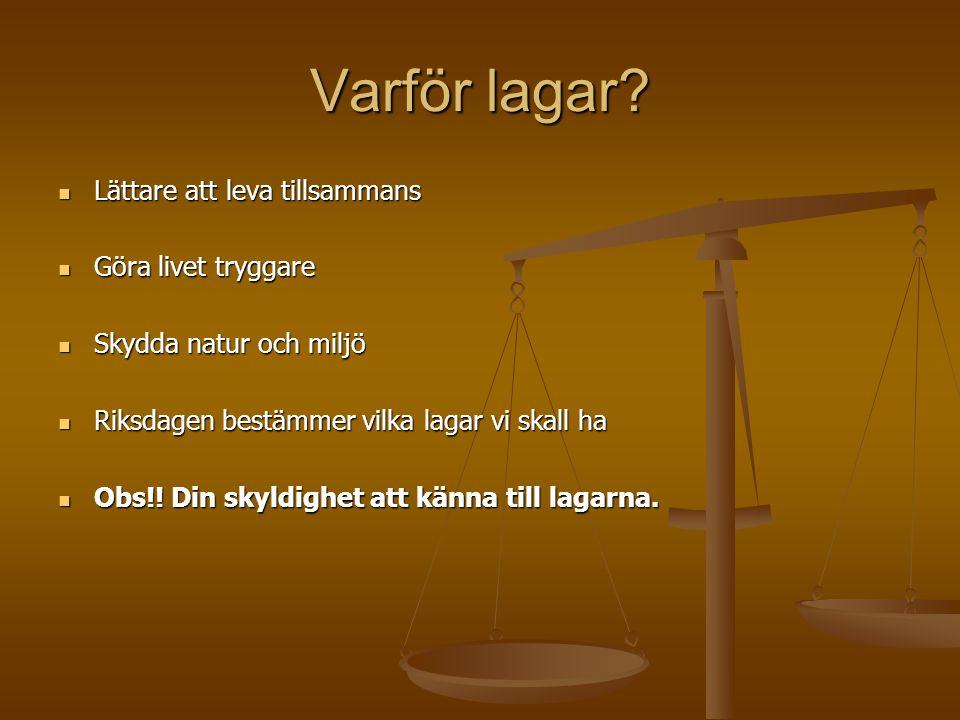 Sveriges Rikes Lagar Civilrätten Civilrätten Lagar om privata frågor - köprätt - äktenskap - arv Straffrätten Bestämmelser om straff - straff för mord - straff för stöld - straff för snatteri - straff för urkundsförfalskning