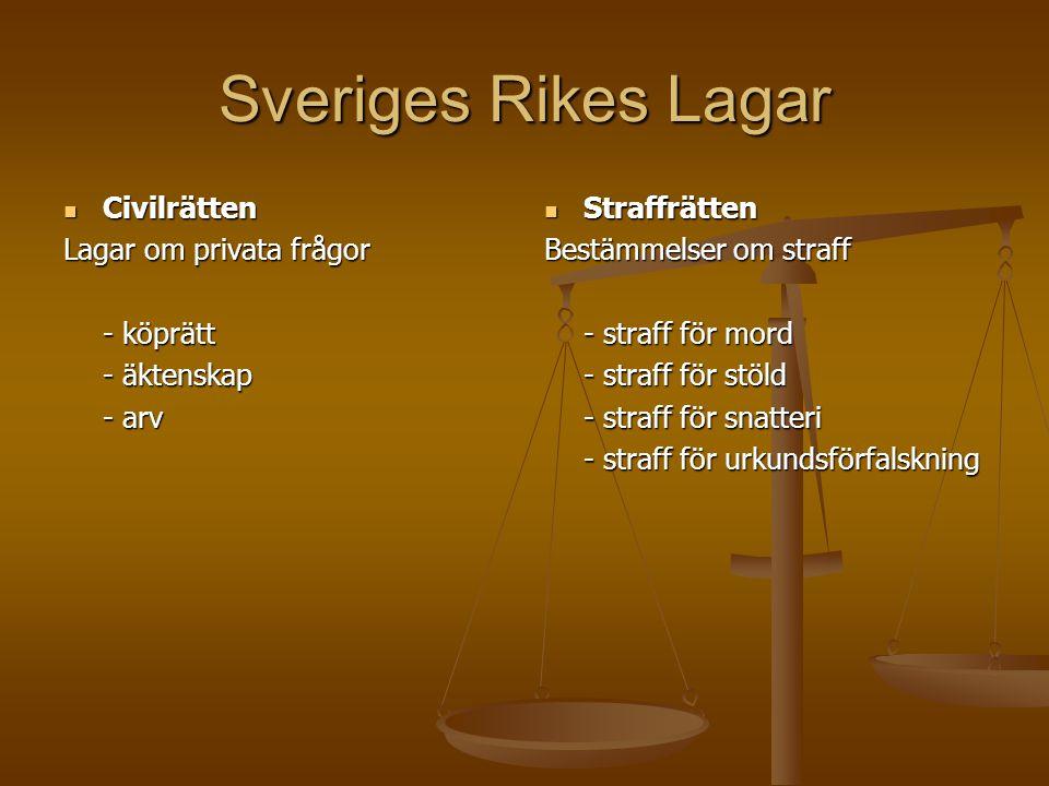 Sveriges Rikes Lagar Civilrätten Civilrätten Lagar om privata frågor - köprätt - äktenskap - arv Straffrätten Bestämmelser om straff - straff för mord