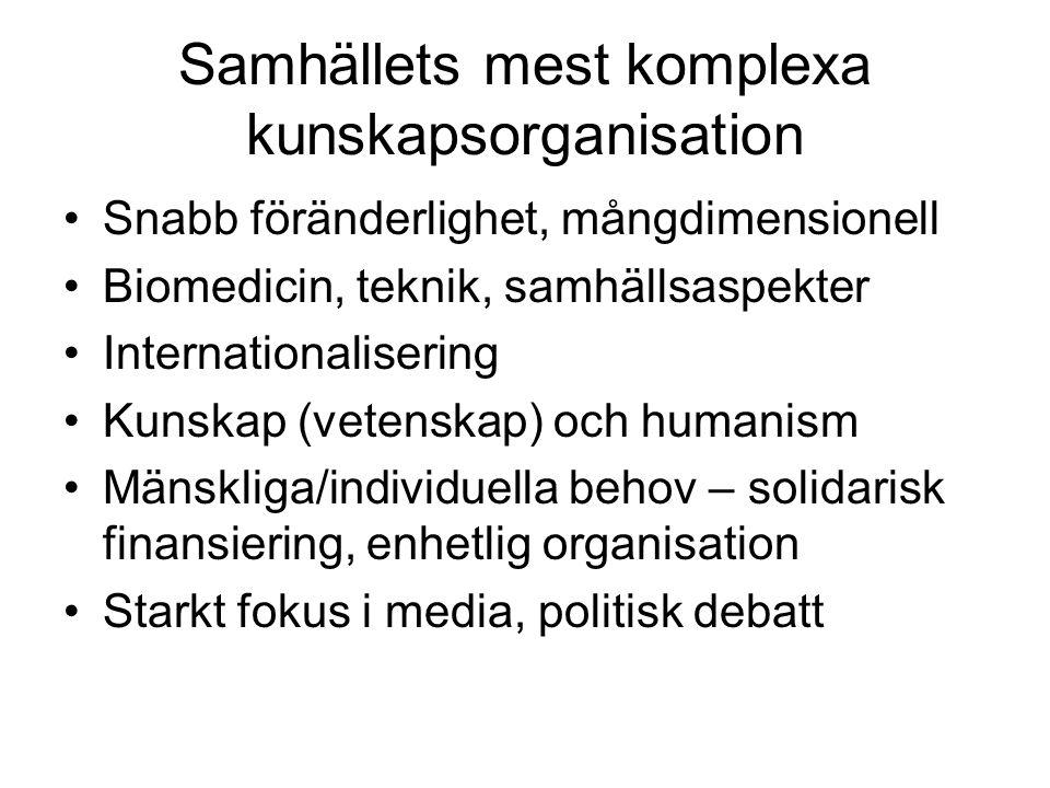 Samhällets mest komplexa kunskapsorganisation Snabb föränderlighet, mångdimensionell Biomedicin, teknik, samhällsaspekter Internationalisering Kunskap (vetenskap) och humanism Mänskliga/individuella behov – solidarisk finansiering, enhetlig organisation Starkt fokus i media, politisk debatt