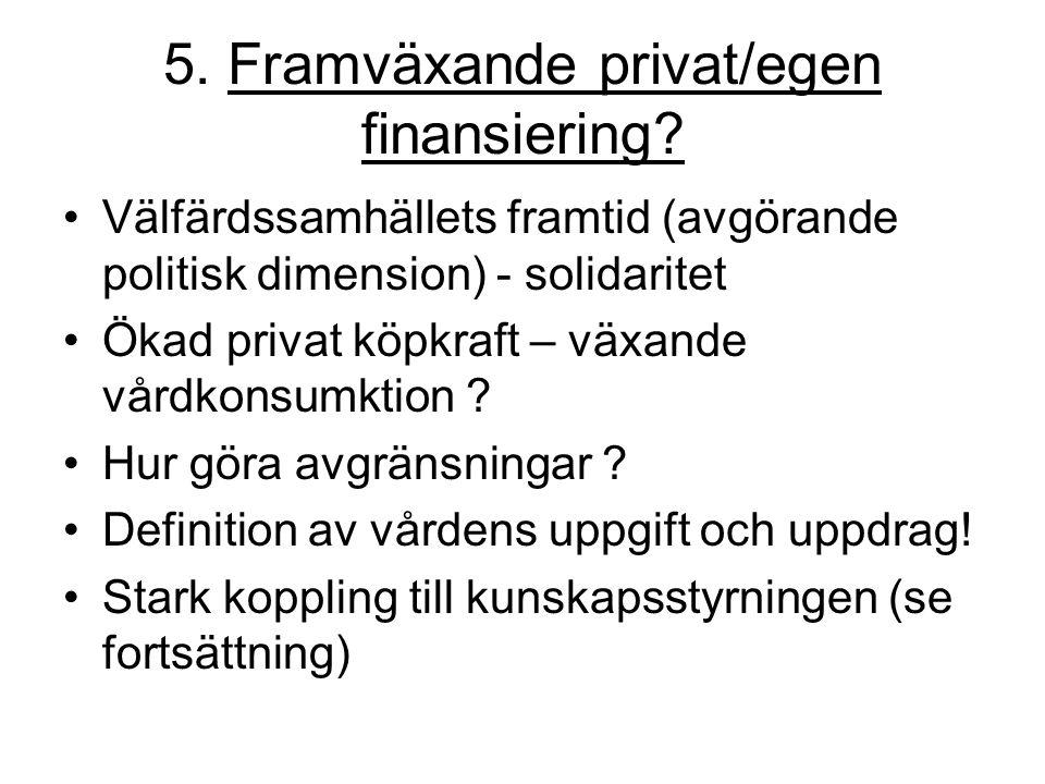 5. Framväxande privat/egen finansiering? Välfärdssamhällets framtid (avgörande politisk dimension) - solidaritet Ökad privat köpkraft – växande vårdko