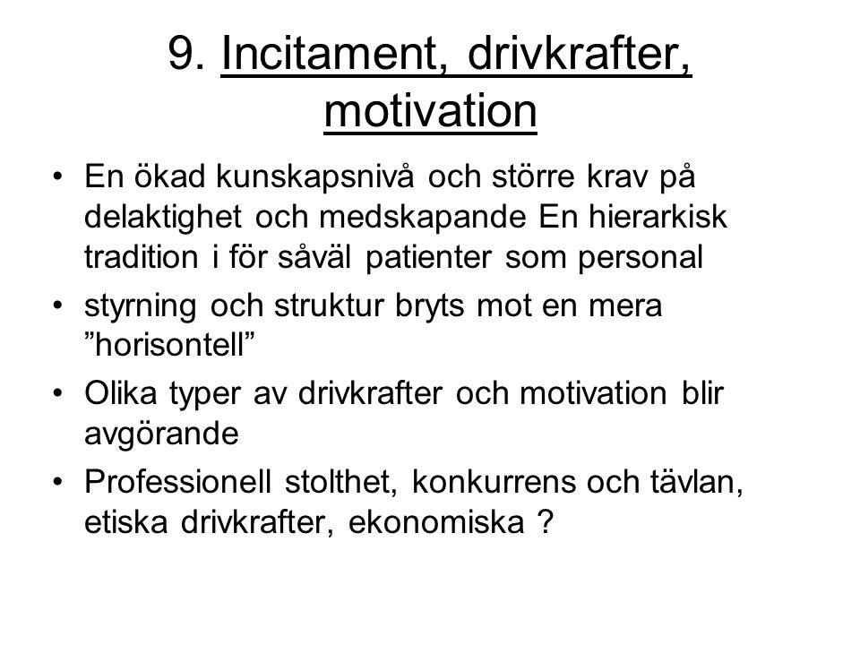 9. Incitament, drivkrafter, motivation En ökad kunskapsnivå och större krav på delaktighet och medskapande En hierarkisk tradition i för såväl patient