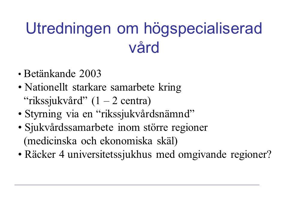 """Utredningen om högspecialiserad vård Betänkande 2003 Nationellt starkare samarbete kring """"rikssjukvård"""" (1 – 2 centra) Styrning via en """"rikssjukvårdsn"""