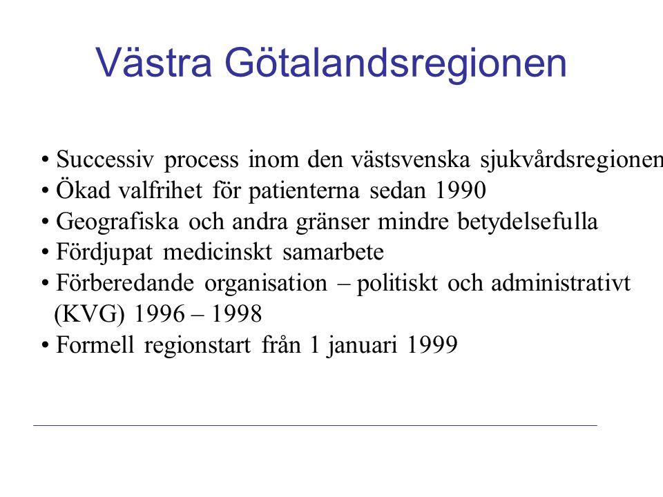 Västra Götalandsregionen Successiv process inom den västsvenska sjukvårdsregionen Ökad valfrihet för patienterna sedan 1990 Geografiska och andra gränser mindre betydelsefulla Fördjupat medicinskt samarbete Förberedande organisation – politiskt och administrativt (KVG) 1996 – 1998 Formell regionstart från 1 januari 1999