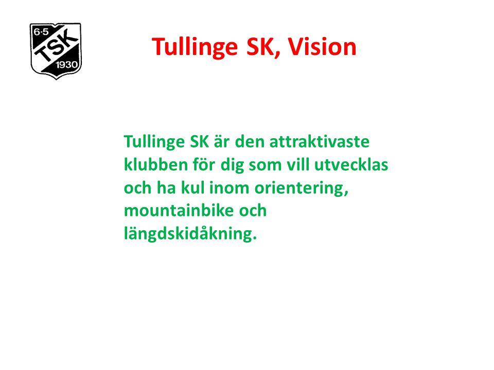 Tullinge SK, Vision Tullinge SK är den attraktivaste klubben för dig som vill utvecklas och ha kul inom orientering, mountainbike och längdskidåkning.