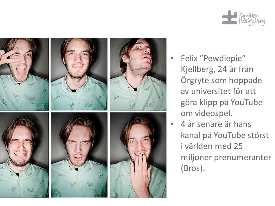 """Felix """"Pewdiepie"""" Kjellberg, 24 år från Örgryte som hoppade av universitet för att göra klipp på YouTube om videospel. 4 år senare är hans kanal på Yo"""