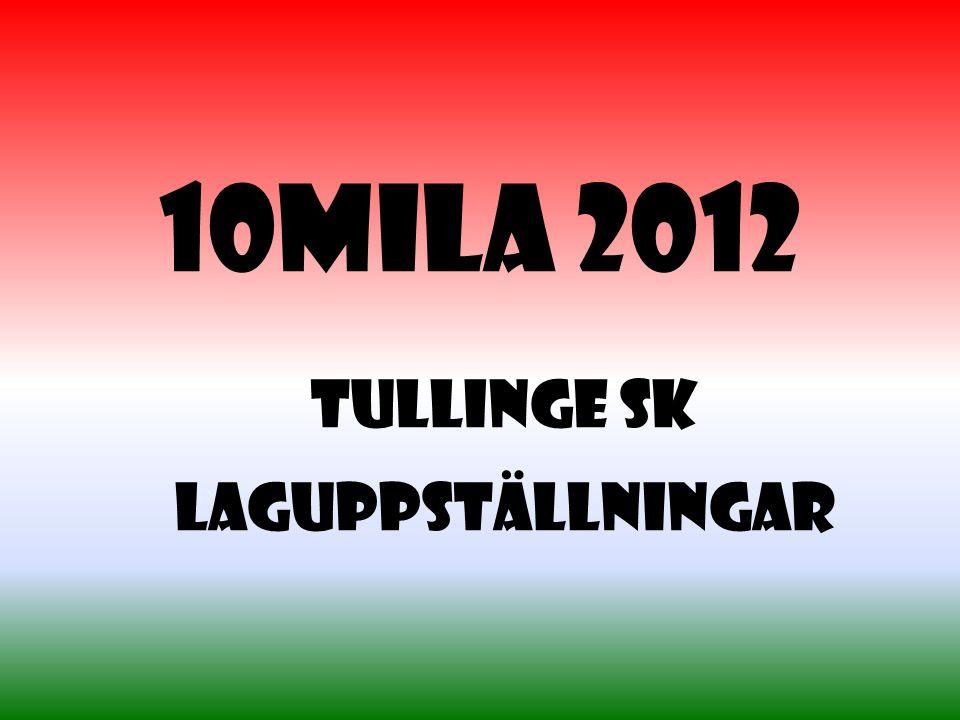 10mila 2012 Tullinge SK Laguppställningar