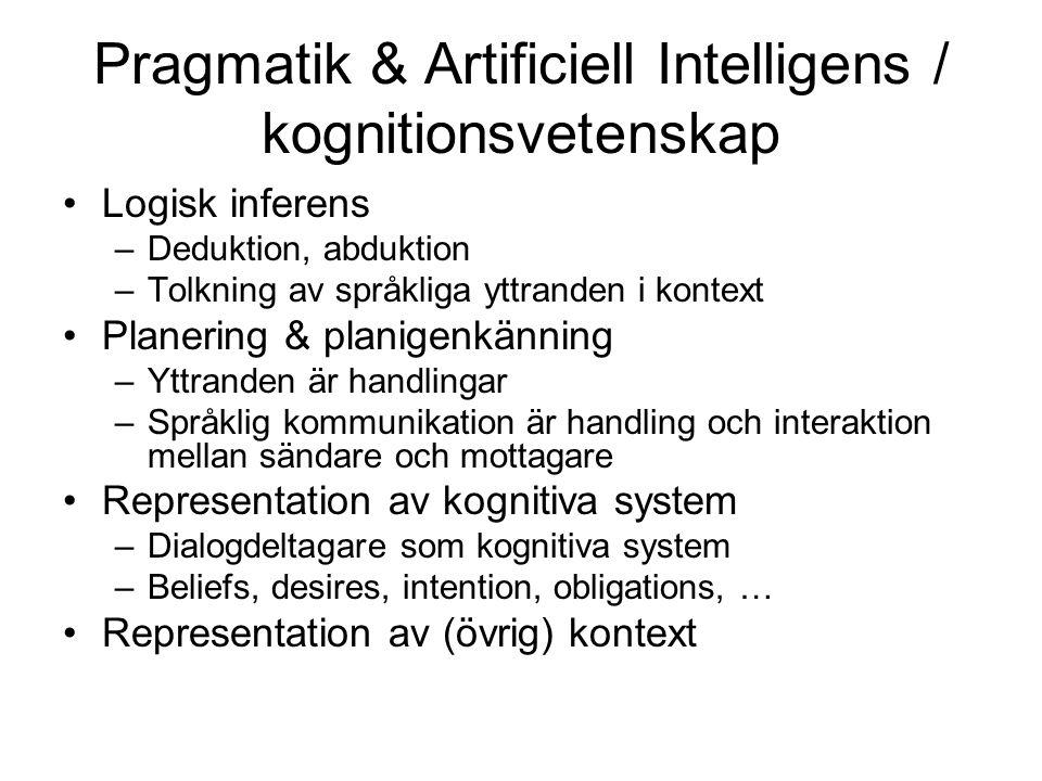 Pragmatik & Artificiell Intelligens / kognitionsvetenskap Logisk inferens –Deduktion, abduktion –Tolkning av språkliga yttranden i kontext Planering & planigenkänning –Yttranden är handlingar –Språklig kommunikation är handling och interaktion mellan sändare och mottagare Representation av kognitiva system –Dialogdeltagare som kognitiva system –Beliefs, desires, intention, obligations, … Representation av (övrig) kontext