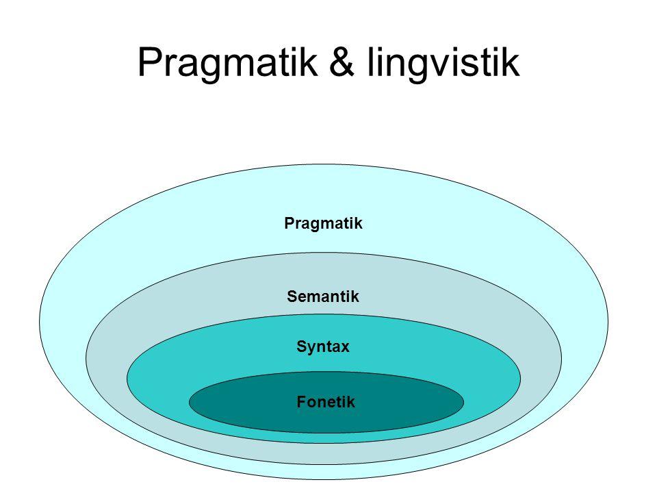 Pragmatik & lingvistik Pragmatik Semantik Syntax Fonetik