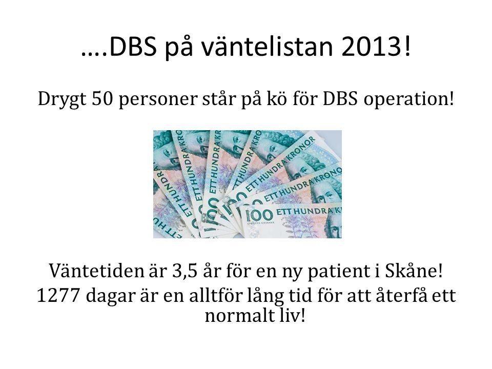 ….DBS på väntelistan 2013! Drygt 50 personer står på kö för DBS operation! Väntetiden är 3,5 år för en ny patient i Skåne! 1277 dagar är en alltför lå