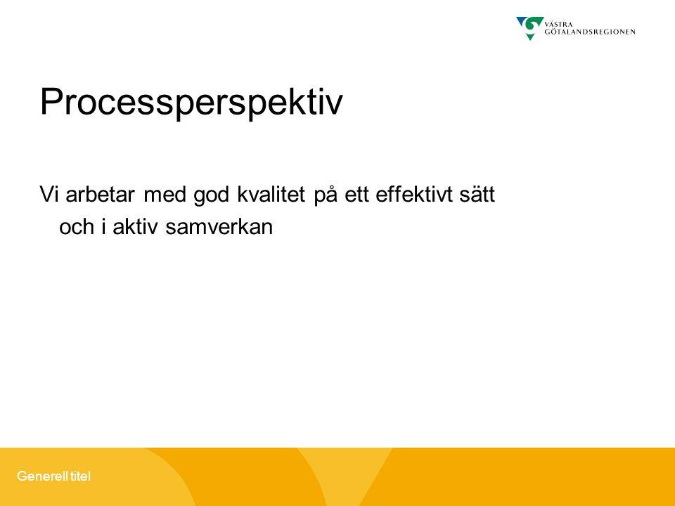 Generell titel Processperspektiv Vi arbetar med god kvalitet på ett effektivt sätt och i aktiv samverkan