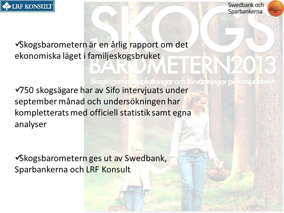 Skogsbarometern är en årlig rapport om det ekonomiska läget i familjeskogsbruket 750 skogsägare har av Sifo intervjuats under september månad och unde