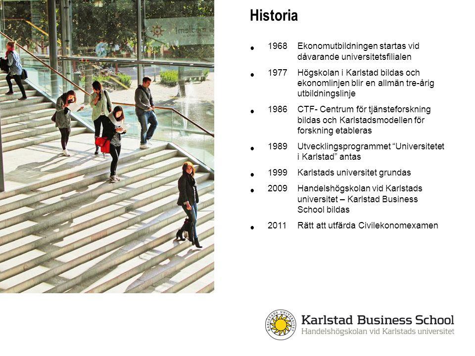 Historia 1968 Ekonomutbildningen startas vid dåvarande universitetsfilialen 1977Högskolan i Karlstad bildas och ekonomlinjen blir en allmän tre-årig u