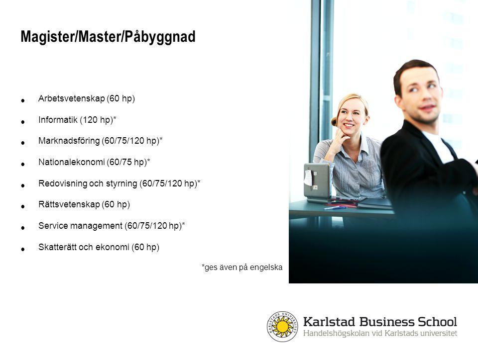 Magister/Master/Påbyggnad Arbetsvetenskap (60 hp) Informatik (120 hp)* Marknadsföring (60/75/120 hp)* Nationalekonomi (60/75 hp)* Redovisning och styr
