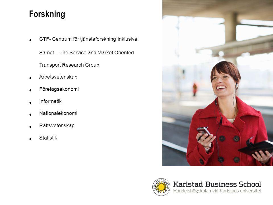E-handel Arbetsmarknadens organisation och villkor Skatterätt Ekonomistyrning och hållbarhetsredovisning Den nya tjänsteekonomin Service marketing Resenärers upplevelser Internationell marknadsföring Forskningsexempel
