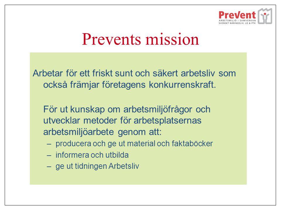 Prevents mission Arbetar för ett friskt sunt och säkert arbetsliv som också främjar företagens konkurrenskraft. För ut kunskap om arbetsmiljöfrågor oc