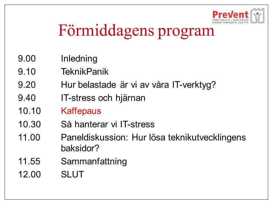 Förmiddagens program 9.00Inledning 9.10TeknikPanik 9.20 Hur belastade är vi av våra IT-verktyg? 9.40IT-stress och hjärnan 10.10 Kaffepaus 10.30Så hant
