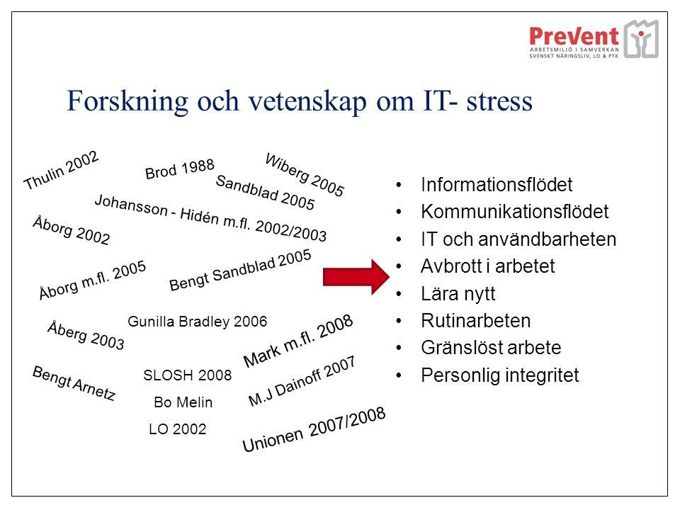 Forskning och vetenskap om IT- stress Informationsflödet Kommunikationsflödet IT och användbarheten Avbrott i arbetet Lära nytt Rutinarbeten Gränslöst arbete Personlig integritet Thulin 2002 Johansson - Hidén m.fl.