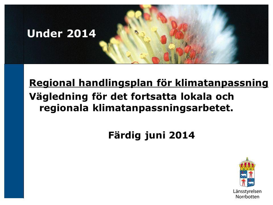 Under 2014 Regional handlingsplan för klimatanpassning Vägledning för det fortsatta lokala och regionala klimatanpassningsarbetet. Färdig juni 2014