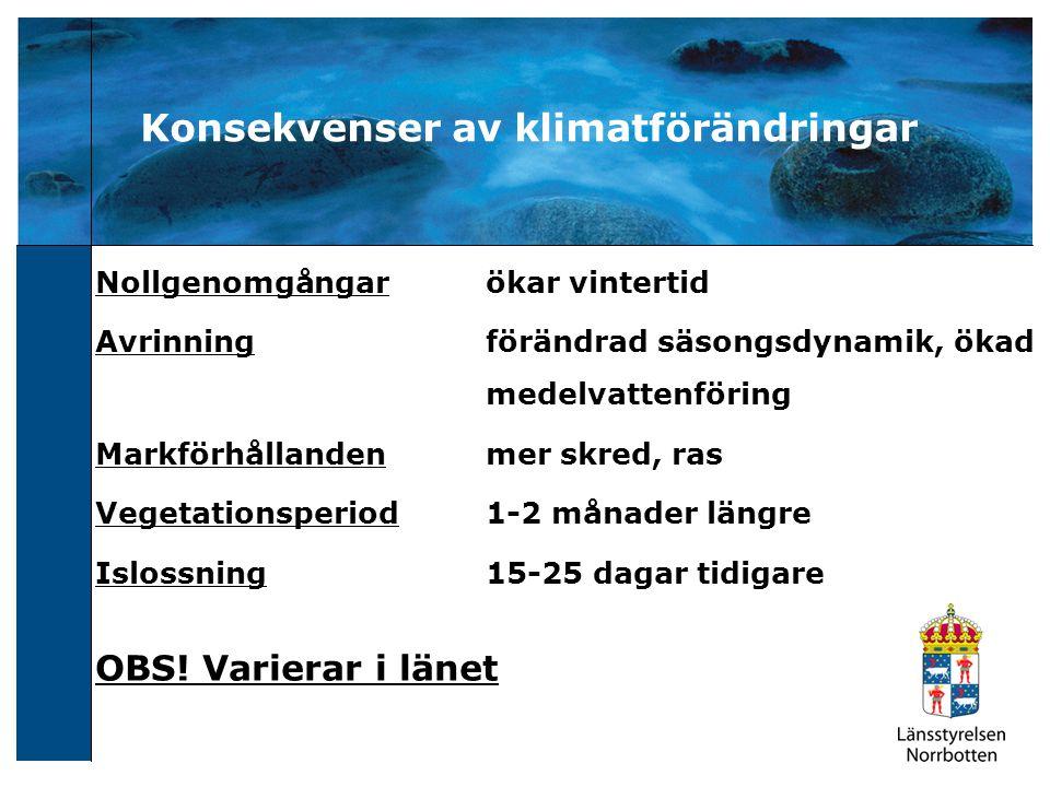 Konsekvenser av klimatförändringar Nollgenomgångarökar vintertid Avrinningförändrad säsongsdynamik, ökad medelvattenföring Markförhållandenmer skred,