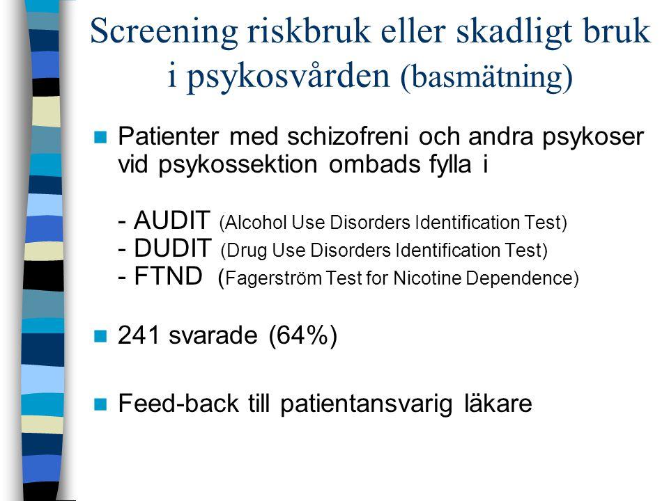 Screening riskbruk eller skadligt bruk i psykosvården (basmätning) Patienter med schizofreni och andra psykoser vid psykossektion ombads fylla i - AUD