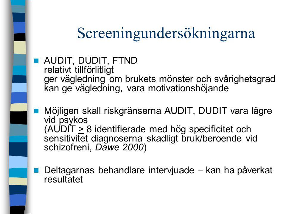Screeningundersökningarna AUDIT, DUDIT, FTND relativt tillförlitligt ger vägledning om brukets mönster och svårighetsgrad kan ge vägledning, vara moti