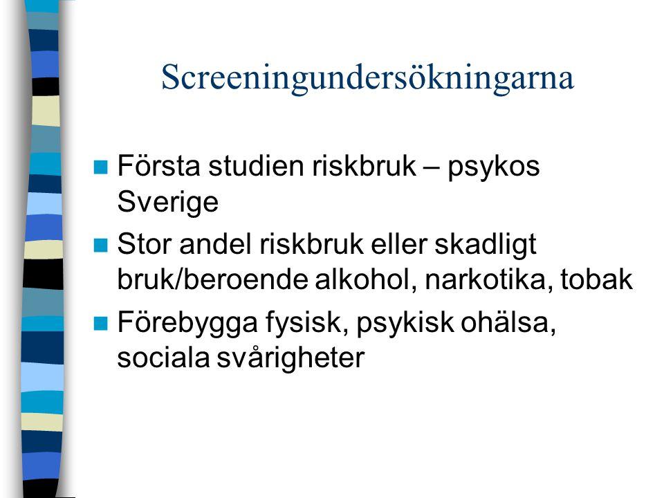 Screeningundersökningarna Första studien riskbruk – psykos Sverige Stor andel riskbruk eller skadligt bruk/beroende alkohol, narkotika, tobak Förebygg