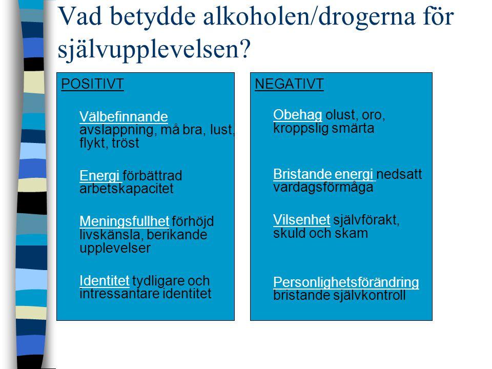 Vad betydde alkoholen/drogerna för självupplevelsen? POSITIVT Välbefinnande avslappning, må bra, lust, flykt, tröst Energi förbättrad arbetskapacitet