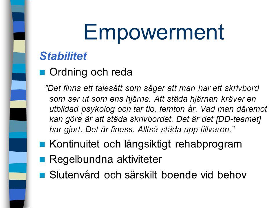 """Empowerment Stabilitet Ordning och reda """"Det finns ett talesätt som säger att man har ett skrivbord som ser ut som ens hjärna. Att städa hjärnan kräve"""