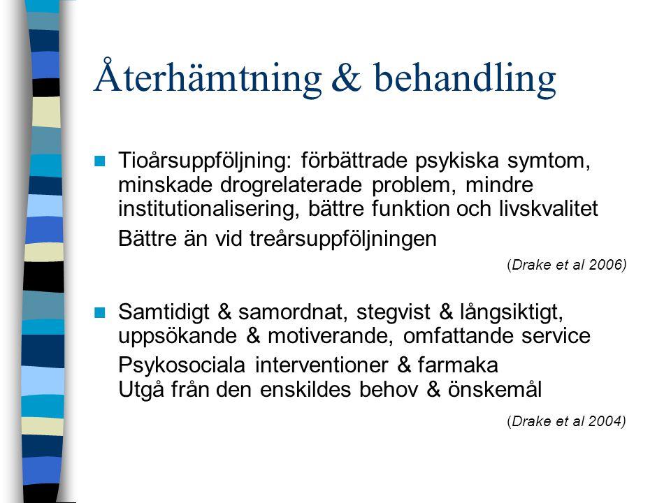 Screeningundersökningarna AUDIT, DUDIT, FTND relativt tillförlitligt ger vägledning om brukets mönster och svårighetsgrad kan ge vägledning, vara motivationshöjande Möjligen skall riskgränserna AUDIT, DUDIT vara lägre vid psykos (AUDIT > 8 identifierade med hög specificitet och sensitivitet diagnoserna skadligt bruk/beroende vid schizofreni, Dawe 2000) Deltagarnas behandlare intervjuade – kan ha påverkat resultatet