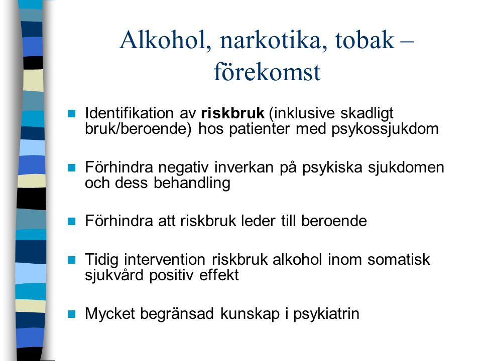 AUDIT (Alcohol Use Disorders Identification Test) DUDIT (Drug Use Disorders Identification Test ) FTND (Fagerström Test for Nicotine Dependence) AUDIT: - hur ofta man dricker - hur mycket - hur ofta berusningsdrickande DUDIT: - hur ofta man använder droger - om flera droger - hur påverkad FTND: - antal cigaretter AUDIT, DUDIT, FTND: tecken på beroende AUDIT, DUDIT: skadliga konsekvenser för personen själv eller annan i år eller tidigare Bergman & Kjällmén 2003, Berman el al 2005, Heatherton et al 1991