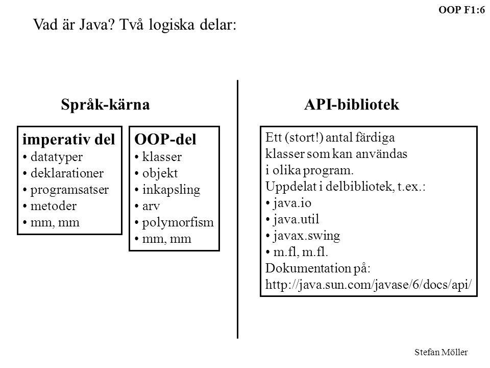 OOP F1:6 Stefan Möller Vad är Java? Två logiska delar: imperativ del datatyper deklarationer programsatser metoder mm, mm OOP-del klasser objekt inkap