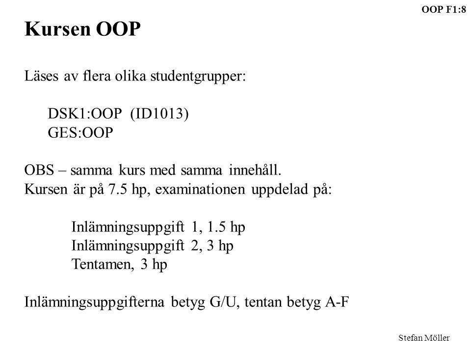 OOP F1:8 Stefan Möller Kursen OOP Läses av flera olika studentgrupper: DSK1:OOP (ID1013) GES:OOP OBS – samma kurs med samma innehåll. Kursen är på 7.5